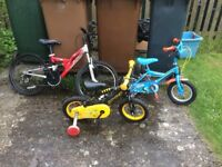 3 Used Kids bikes, need some tlc but all still in working order.