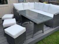 Rattan garden furniture set with table