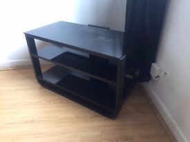 TV stand/cabinet black smoked glass.