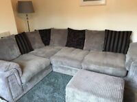 DFS Grey Right Hand Facing Corner Sofa. Excellent Condition. Includes Storage Footstool