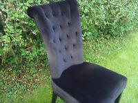 6 x Dining Chairs High Backed Black Velvet Design