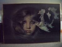 JOY LAROS large weeping woman Verkerke poster/board backed glazed gold Nielsen frame. £30 ovno