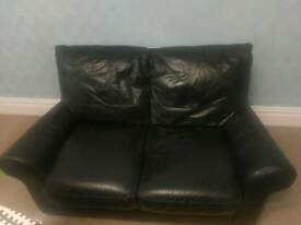 Real Leather Black 2 seater Leather Sofa