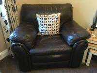 Leather sofas and chair - Brown