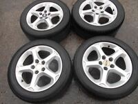 """16"""" GENUINE BORBET FORD ALLOY WHEELS WITH GOOD 205/55/16 TYRES"""