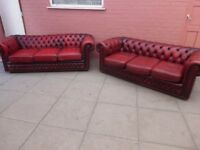 A Pair Of Oxblood Red Leather Chesterfield Three Sofa Sofa Settee