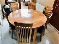 Oak wood dining room table and 6 chairs