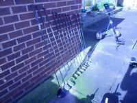Complete set of golf clubs, includes bag and trolley,, irons steel shaft and excellent grips