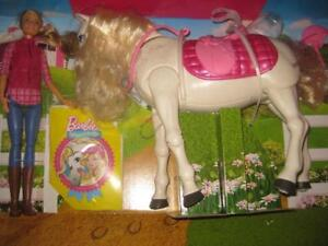 Barbie Dream Horse DreamHorse / Pony. React to Touch and Sound. Walk Forward. Turn 360. Play Song Fun. Nods. Pink Saddle