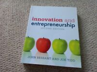 Innovation and Entrepreneurship John Bessant and Joe Tidd excellent condition