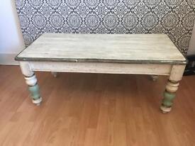 Distressed look vintage coffee table