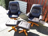 Swivel chairs and foot stool