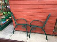 Two Wrought Iron Bench ends for sale.