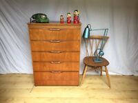 Large vintage tallboy teak 1960s Mid Century chest of drawers
