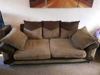 Brown 3+2 seater sofas