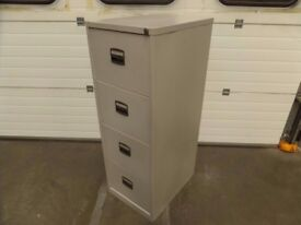 LIGHT GREY 4 DRAWER OFFICE FILING CABINET (NO KEY)