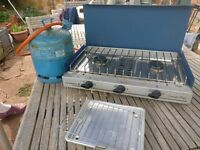 Hardly Used Calorgas Camping Stove (with grill and gas bottle)