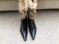 Dune vintage fur top heels size 36