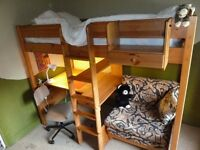 Stompa High Sleeper with Desk and Single futon
