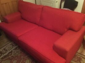3 Seater Red Sofa - Very Good Condition - £60