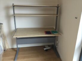 2 leather settees, bed frames, dining set, desk/bookcases and bookcases