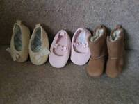 3 Pairs of pram shoes: Size 1 (3-6 months)
