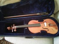 Viola with case + bow + fine tuners + beginner books