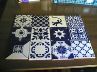 12 NEW HANDMADE MEXICAN CERAMIC WALL TILES-BLUE CROSS MIX-10.5CM X 10.5CM (Approx)