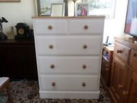 Lovely solid pine chest of drawers hand painted with Farrow and Ball Acrylic Eggshell