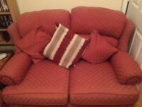 Terracotta/dark red 3 seater and 2 seater sofa