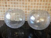 Large globe vases pair crackle glass