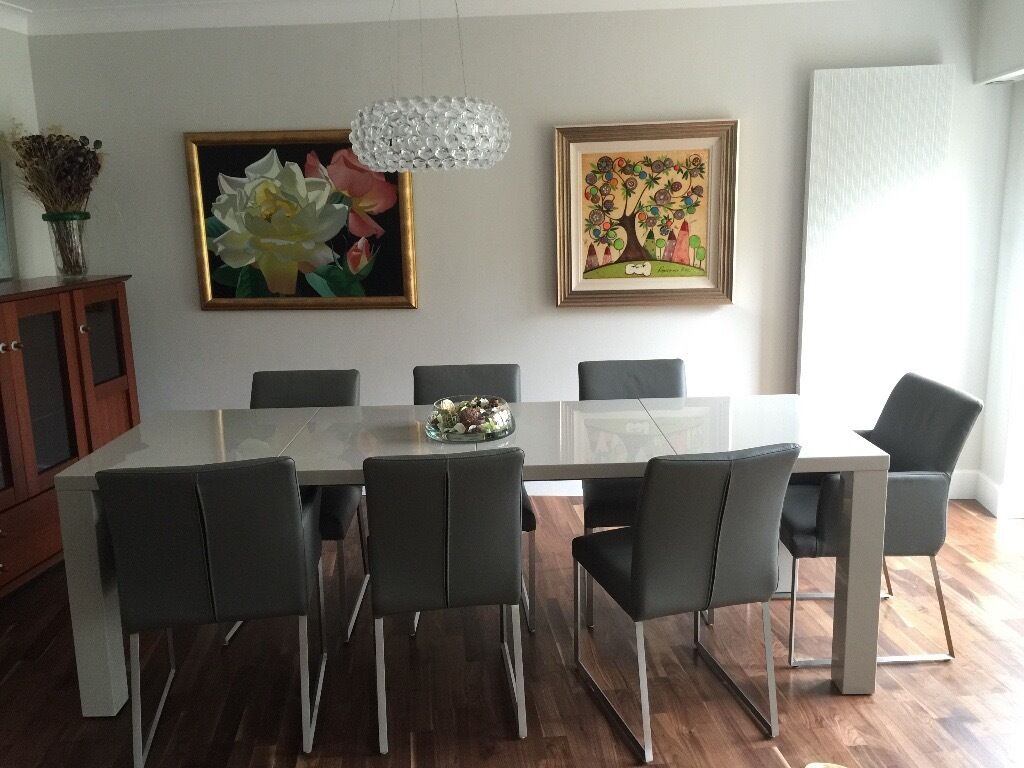 MODERN GREY GLOSS EXTENDING DINING TABLE 8 GREY REAL  : 86 from www.gumtree.com size 1024 x 768 jpeg 103kB