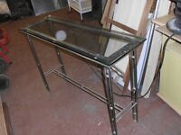 THICK GLASS TOP TABLE WITH STEEL LEGS