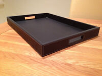 Large Black Stitch Faux Leather Tea Tray (never used)