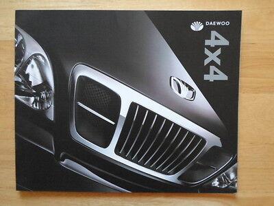 DAEWOO MUSSO & KORANDO 4x4 orig 2000 UK Mkt Prestige Large Format Sales Brochure