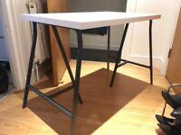 White IKEA desk with grey unattached black legs