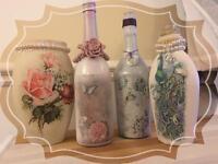 Decoupage vintage bottles and vases
