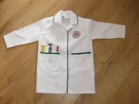 ELC DOCTORS (dressing up) LAB COAT for approx 3-6 year old IMMACULATE + stethescope