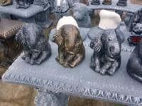 Concrete garden ornaments of animals