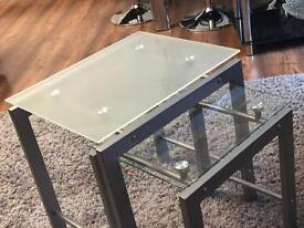 Nest of tables - Glass top & Silver legs