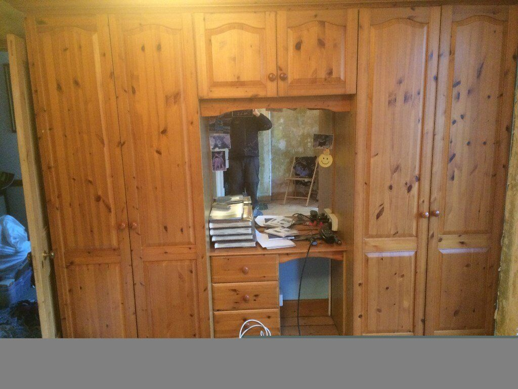 2 Pine double door wardrobes with dressing table and chest of drawers. Buyer collect