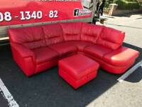Red leather corner group sofa & puffee £299 mint condition