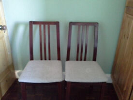 Dinning room chairs cream clothe seats brown high backs four chair set