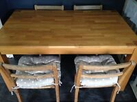 Oak Dining Table -Solid Wood - Chunky Shabby Chic