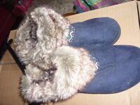 Ladies fur top slippers