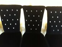 Set of 4 Dining Chairs (Black Velvet with Crystal Buttons)