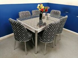 🍒🔥🔥A NEW SALE IS HERE🔥🔥ON FIERY EXTENDABLE DINING TABLE WITH 6 CHAIRS