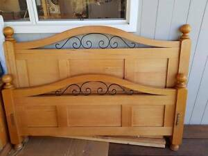 Tasmanian Solid Oak Queen Bed + Set of Matching Bedside Drawers Revesby Heights Bankstown Area Preview