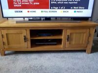 VARSAILLES OAK LONG TV UNIT,TALL SLIM BOOKCASE AND SIDE TABLE