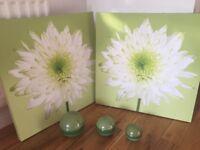 2 Next wall pictures & 3 decorative matching displays balls